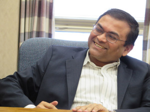 Born in Calcutta, India, and having earned his Doctorate and Master of Science in Chemical Engineering at Rensselaer Polytechnic Institute in Troy, Finch Paper CEO Deba [pronounced debba] Mukherjee, smiles readily but stays very much on message during an interview. He needs no help in articulating his case. Incidentally he's just 46 years old. Chronicle photo & text/Mark Frost