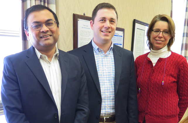 Top Finch execs who met Monday with The Chronicle — from left, President and CEO Debabra (Deba) Mukherjee, Vice President Finance & CFO Derek Basile and Director, Branding & Communications Beth A. Povie. Chronicle photo/Mark Frost