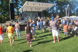Donna the Buffalo, Newgrass-country stars, had their smaller crowd up dancing. Chronicle photo/Cathy DeDe