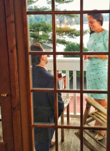 """On a balcony at the Mirror Lake Inn in late August,  Congresswoman Elise Stefanik said """"Yes"""" when Matt Manda, her boyfriend of four years, proposed marriage. He asked someone in the lounge to take this photo for him. Photos provided by Elise Stefanik."""