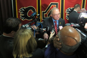 Glens Falls Mayor Jack Diamond at Calgary Flames press conference