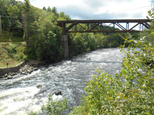 The Sacandaga Whitewater Park will be in this section of the river, just downstream from the railroad trestle connecting Hadley and Lake Luzerne. Photo courtesy of Tracey Clothier/LA Group