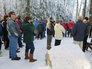 Scores of people turned out for the monument dedication ceremony. Chronicle photo/Mark Frost