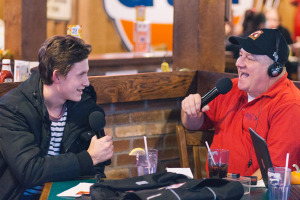 Dan Miner interviews Adirondack Flames defenseman Ryan Culkin for his WCKM weekly radio show, Center Ice, at O'Toole's in Queensbury. Photo provided