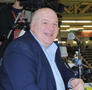 WCKM radio personality Dan Miner in the Glens Falls Civic Center press box, where he was been the hockey public address announcer for more than 20 years. Chronicle photo/Gordon Woodworth