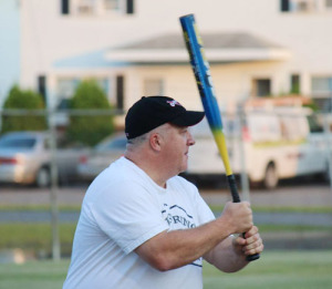 """Playing for the Lewis Super old-timers team in 2013, Dan Miner was named MVP after recording three hits, and he says making """"a bunch of spectacular plays at the plate.""""  Photo provided"""
