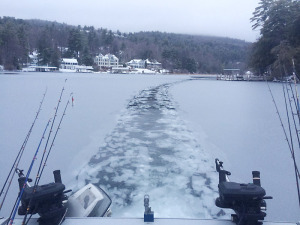 Curt Kingsley took this photo as Paul Leguire broke ice in Green Harbor on Jan. 4 for a fishing trip for lake trout. They caught six keepers, Mr. Kingsley reported.