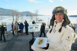 The Sagamore's Ice Bar  — Opening day last year, in frigid cold, with Dome Island in the background.