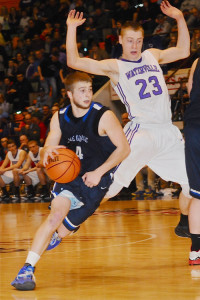 Joel Wincowski scored 30 to lead Lake George to a 53-50 win over previously unbeaten Waterville in the Class C state championship game.  Photo by Tom Sullivan, Sr.