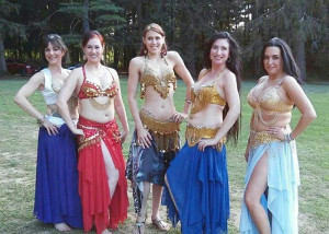 """Kalila's Jewels — """"Kalila's Jewels"""" professional belly dance troupe, with Lisa Bohannon, Kim Fitzpatrick, guest Charissa Edwards, Carrie Java and Becka Laufer. Photo provided"""