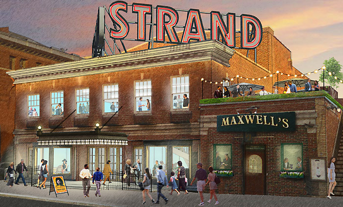 Preliminary Strand concept, with rooftop dining at Maxwell's Restaurant.