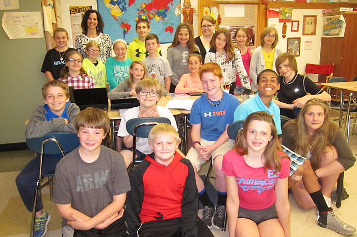 """Students in one of Clare Brady's four Queensbury Middle School classes that are participating in """"Genius Hour.""""  Chronicle photo/Cathy DeDe"""