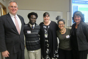 Joseph Kaifala of Sierra Leone (second from the left) with Assemblyman Dan Stec, World Awarreness Children's Museum director Heather Hickland, Skidmore professor Kate Graney and event organizer Elizabeth Little Hogan. Chronicle photo/Cathy DeDe