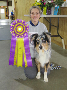 Wendy Cerilli and her six-year-old Australian Shepherd Holster, who won the Masters Agility competition on Feb. 13 at the Westminster Dog Show in New York, Chronicle photo/Mark Frost