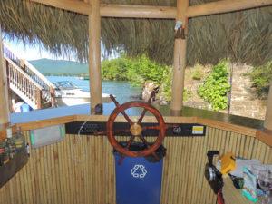Inside tiki bar boat