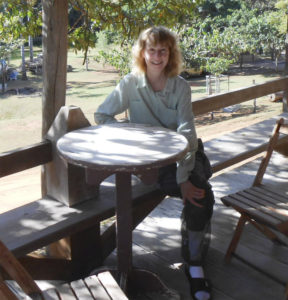 Joyce Miller, on her cottage balcony at the Garden of the Amazon lodge in the Amazon River basin.