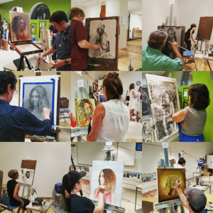"""Portraits of the portrait artists — The Hyde made a collage of the works in progress from last Thursday night's """"Face Off"""" Arts Battle at the museum. Photo provided"""